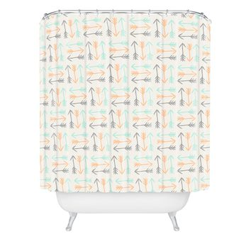 Allyson Johnson Peachy Arrows Pattern Shower Curtain