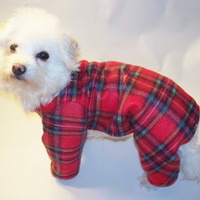 Dog Pajamas Red Plaid Fleece Great for Christmas Dog Pjs