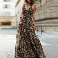 Leopard Print Chiffon Maxi Dress Women Backless Long Sexy Party Dresses Spaghetti Strap Casual Dress