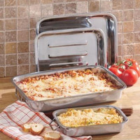 Baking Pan Set 4 Pce Nesting Stainless Oven Safe Handled Lasagna Casseroles Bake