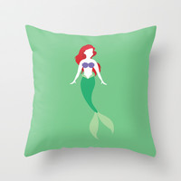 Ariel from The Little Mermaid Disney Princess Throw Pillow by Alice Wieckowska | Society6