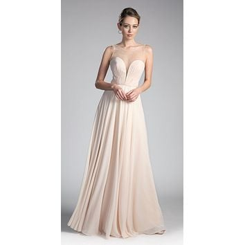 Long A-Line Chiffon Dress Champagne Illusion Neckline And Open V-Back