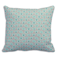Dogs Organic Pillow Cover in Light Turquoise/Light Gray