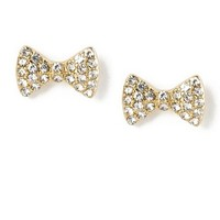 Crystal Bow Stud Earrings  | Claire's
