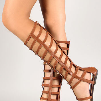 Wild Rose Studded Strappy Caged Gladiator Flat Sandal