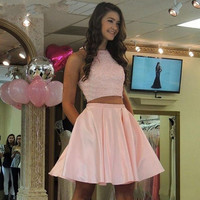 Pink Two Piece Halter Homecoming Dresses