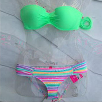 HOT CUTE TWO PIECE PLEATED GREEN PINK BIKINIS