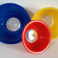 Pyrex Clear Bottom Nesting Mixing Bowl Set # 322 323 325 Primary Color Blue Yellow Red Retro 80's