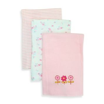 SpaSilk® Flowers 3-Pack Burp Cloths