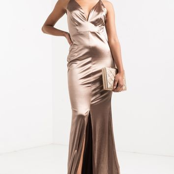 AKIRA Thin Adjustable Strap Crossback Plunging V Neck Satin Feel Front Slit Maxi Dress in Gold, Burgundy