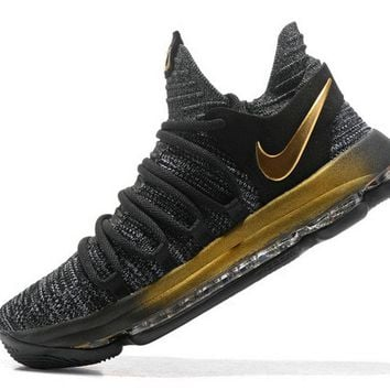 Popular 2018 Nike Zoom KD 11 EP Oreo Gold 897816 001 Kevin Durant Mens Basketball Shoes Brand sneaker
