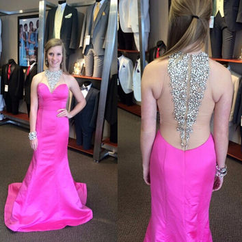 See Through Back Hot Pink Prom Dresses