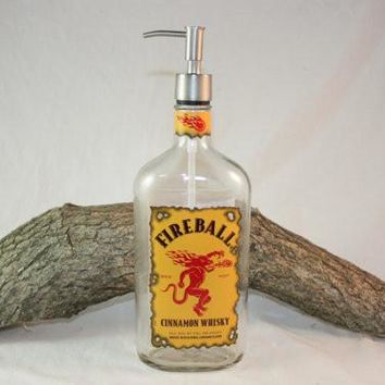 Soap/Lotion Dispenser from Upcycled Fireball® Bottle