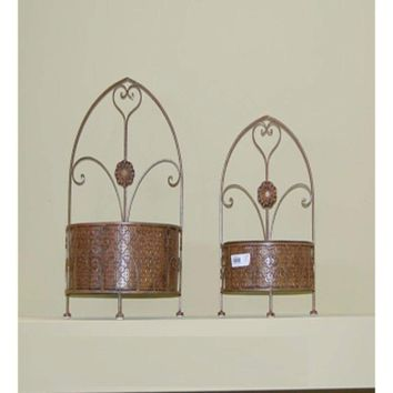 2 Piece Of Classic Metal Wall Decor, Gold By Benzara