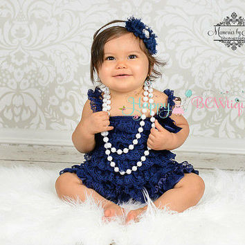 baby girl's dress, Navy Blue Lace Dress, ruffle dress, baby dress, Birthday outfit, flower girl dress, nautical dress, Baby Girl Navy Dress