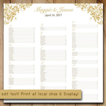 "Wedding Seating Chart Template | Flourish Gold  ""Maggie"" Microsoft Word Template 