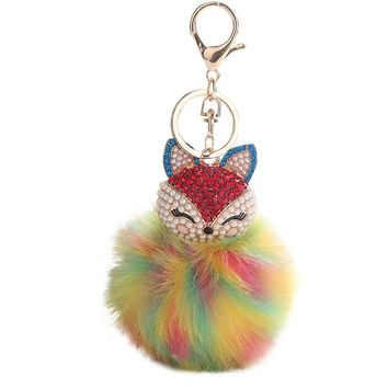 Cute Fox Inlaid Drill Pendant Key Ring Holder Pompoms Key Chains