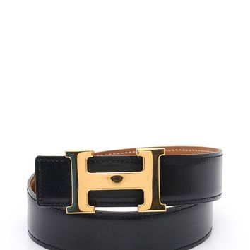 HERMES Constance H belt Reversible box calf black brown O_Y engraved