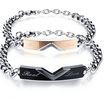 His and Hers Matching Set Titanium Stainless Steel Couple Real Love Bracelet in a Gift Box (A Pair)