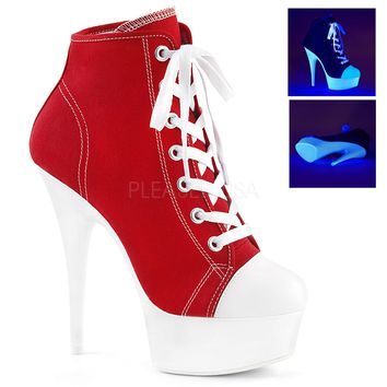 Red Platform High Top Canvas Sneakers 6 Inch Heels- Stripper Shoes