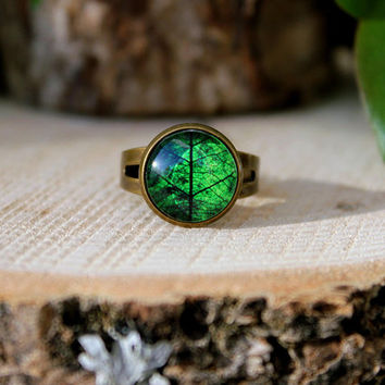 Leaf Ring | Green Leaf Ring | Green Leaf Jewelry | Antique Bronze Ring | Green Ring | Adjustable Ring