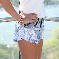 SLASH ACID CROCHET LACE DAISY SHORTS , DRESSES, TOPS, BOTTOMS, JACKETS & JUMPERS, ACCESSORIES, 50% OFF SALE, PRE ORDER, NEW ARRIVALS, PLAYSUIT, COLOUR, GIFT VOUCHER,,SHORTS,Blue,LACE Australia, Queensland, Brisbane