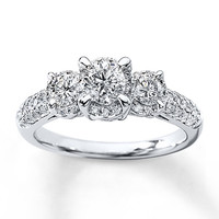 Tolkowsky Engagement Ring 1 1/6 ct tw Diamonds 14K White Gold