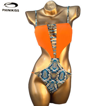Hot New Design Sexy Bandage Women Swimwear Leopard One Piece Bathing Suit Female Cut Out Swimsuit Maillot De Bain