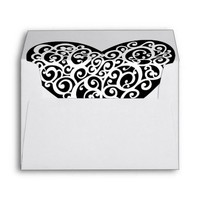 Black and White Heart Wedding Envelop Envelope