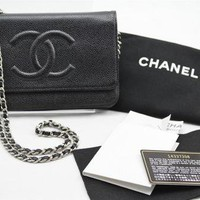 Chanel WOC Wallet on Chain Black Caviar Silver HW