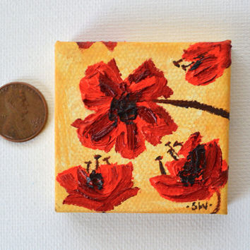 "Tiny art, Miniature, Red Poppies, Miniature Original Oil Painting, Dollhouse Art, American Girl Doll, 2"", mustard yellow, texture, poppy"