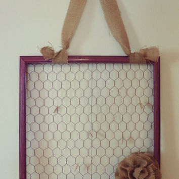 """17.5""""x18"""" Rose Chicken Wire Wood Frame W/ Burlap Accents"""
