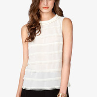 Refined Lace-Striped Georgette Top