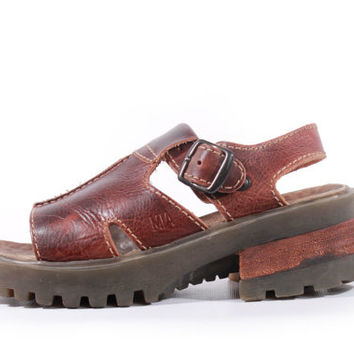 90s Vintage Platform Sandals Brown Leather Chunky Slingback Shoes Hipster Grunge Women Size US 6.5 UK 4.5 EUR 37