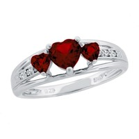 Garnet Heart Sterling Silver Diamond Accent Birthstone Ring - Size 7