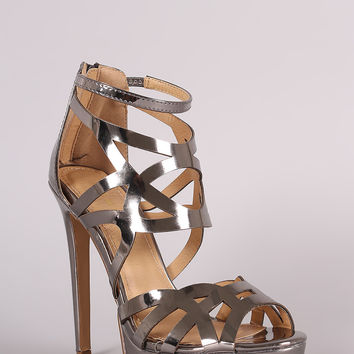 Shoe Republic LA Mirror Metallic Caged Stiletto Platform Heel