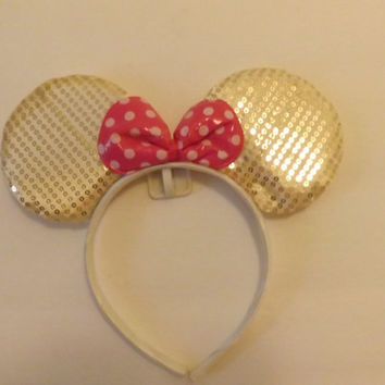 MINNIE MOUSE EARS Headband White sequin accented with hot pink/white polka dot Bow *1 of a kind