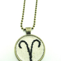 Aries Necklace Embroidered Necklace Embroidered Jewelry Zodiac Jewelry  ,Zodiac  Necklace Aries Jewelry Unisex Necklace Cosplay Necklace