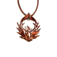 Phoenix Necklace, Phoenix Pendant, Phoenix Jewelry, Wood Phoenix Necklace, Firebird Necklace, Wooden Firebird Pendant, Firebird Jewelry