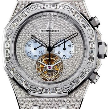 Audemars Piguet Royal Oak Diamond Tourbillon Chronograph White Gold Men\'s Watch