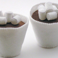 Felt Food Hot Chocolate with Mini Marshmallows WOOL BLEND