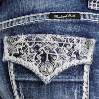 Rock & Roll Cowgirl Women's Mid Rise Boot Cut Jeans with Lace Embroidery