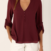 Wine Red V-neck Button Detail Dip Back Blouse