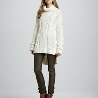 Micah Cable Knit Sweater & Belted Leather Pants