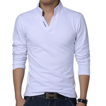 big size S-5XL 2018 mens fashion boutique cotton leisure stand collar long sleeve POLO shirts /Male pure color v-neck POLO shirt