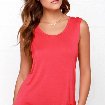 Mercy Me Coral Red Tank Top