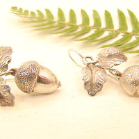 Vintage Antique Silver Acorn Earrings, Charming Old Dangling Earrings, Wonderful Detail, Victorian Style, English
