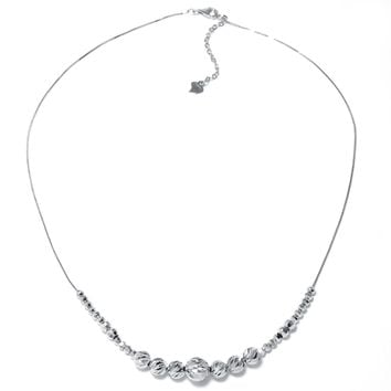 Sterling Silver Diamond-Cut Graduated Floating Bead Necklace