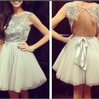 Homecoming Dress,Backless Mini Chiffon  Sweet Short Prom Dress