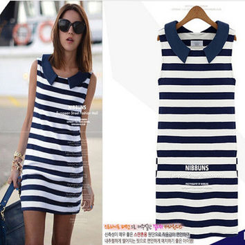 Stripes Printed Blue Sleeveless One Piece Dress  Top Women Tank Vest _ 1684